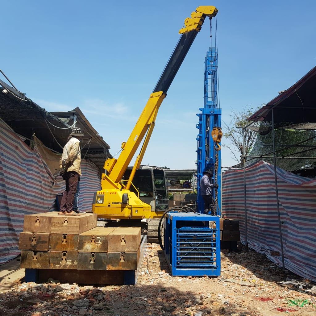 Ép cọc bê tông xã Cây Trường II huyện Bàu Bàng