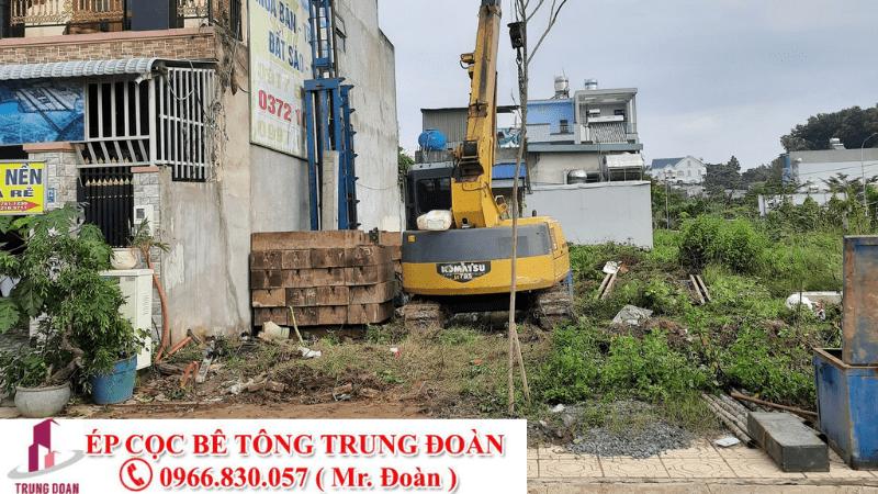 Ép cọc bê tông xã Bình Hòa Đông huyện Mộc Hóa, Long An