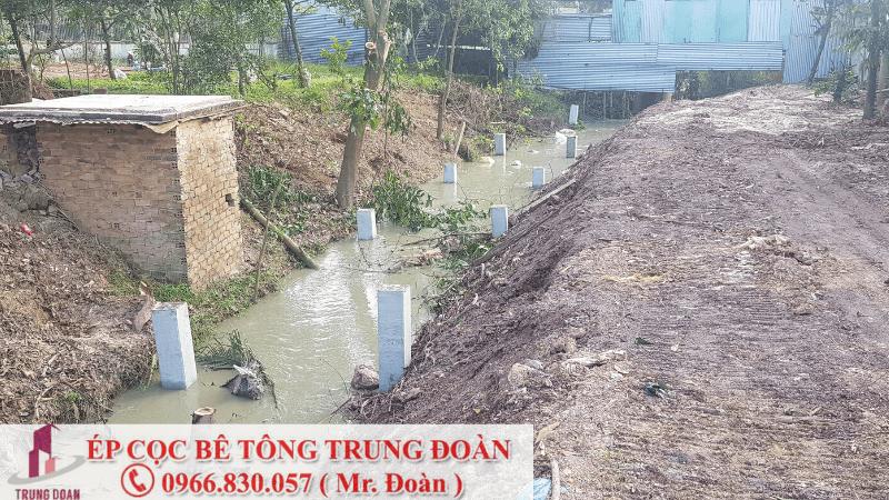Ép cọc bê tông xã Nhựt Chánh huyện Bến Lức