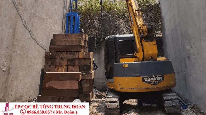 Ép cọc bê tông cho nhà trong hẻm nhỏ